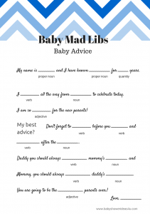 FREE Baby Mad Libs Game - Baby Advice - Baby Shower Ideas - Themes ...