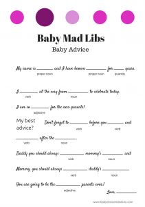 Witty image inside baby shower mad libs printable free