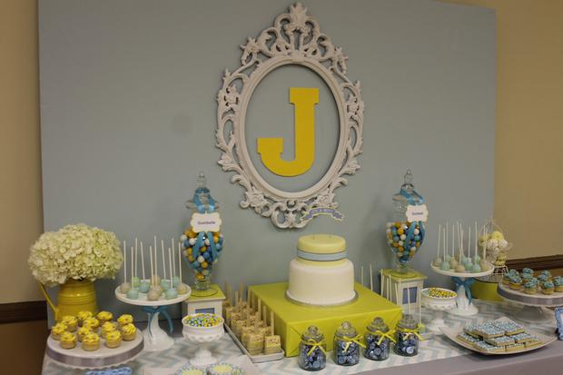 Beautiful ... Gray Blue Yellow Baby Shower Ideas Via Babyshowerideas4u Delicious  Dessert Table 12 ...