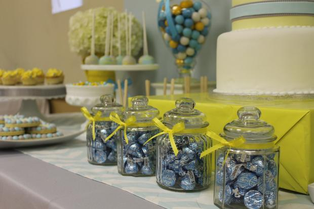 gray blue yellow baby shower ideas via babyshowerideas4u delicious