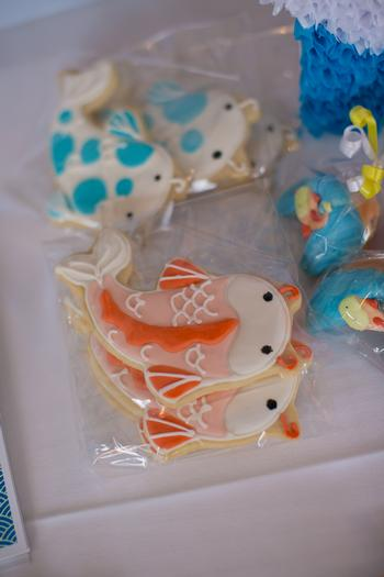 Koi fish birthday theme party baby shower ideas themes for Koi fish bathroom decorations
