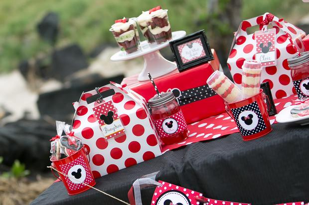 Atop The Red Velvet Parfaits Is A Dollop Of Cool Whip Supporting A Black  Fondant Minnie Mouse Ears ...