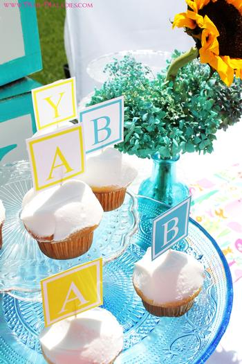 Charming ... Yellow And Turquoise Baby Shower Via Babyshowerideas4u.com Letter  Blocks ...