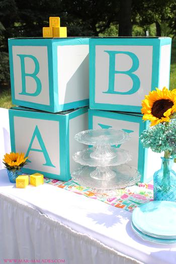 Awesome Yellow And Turquoise Baby Shower Via Babyshowerideas4u.com Letter Blocks