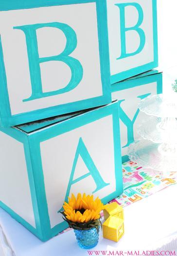 ... Turquoise And Yellow Baby Shower Via Babyshowerideas4u.com Blocks ...