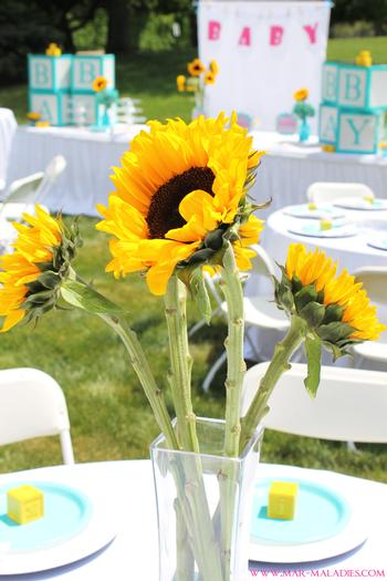 Turquoise And Yellow Baby Shower Via Babyshowerideas4u.com Sunflower