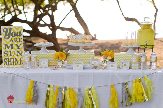 You are my sunshine chevron party baby shower ideas themes games - Baby shower chevron decorations ...