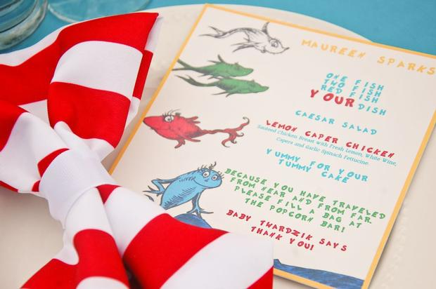Dr seuss themed baby shower baby shower ideas themes for Two fish menu