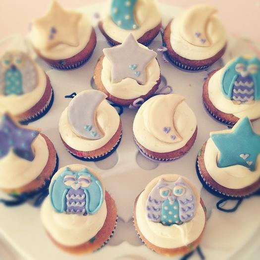 Owl Cupcakes For Baby Shower: Night Owl Baby Shower