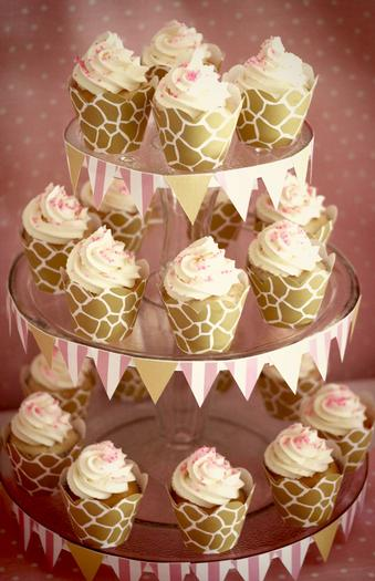 Pink Giraffe Baby Shower Dessert Table giraffe cupcake wrappers