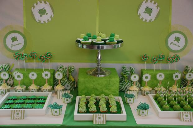 frog themed baby shower ideas, decorations, green colors, dessert ...