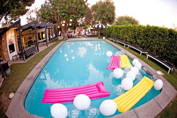 Baby Shower Pool Party Ideas find this pin and more on my baby shower ideas Palm Springs Pop Art Party Ideas Wedding Birthday Party Baby Shower Inspirations Lemon Party Theme Hello Kitty Ring Pool