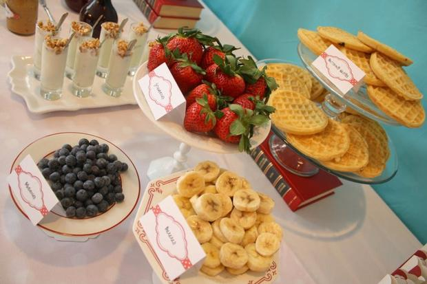 aqua sock monkey baby shower food table baby shower ideas