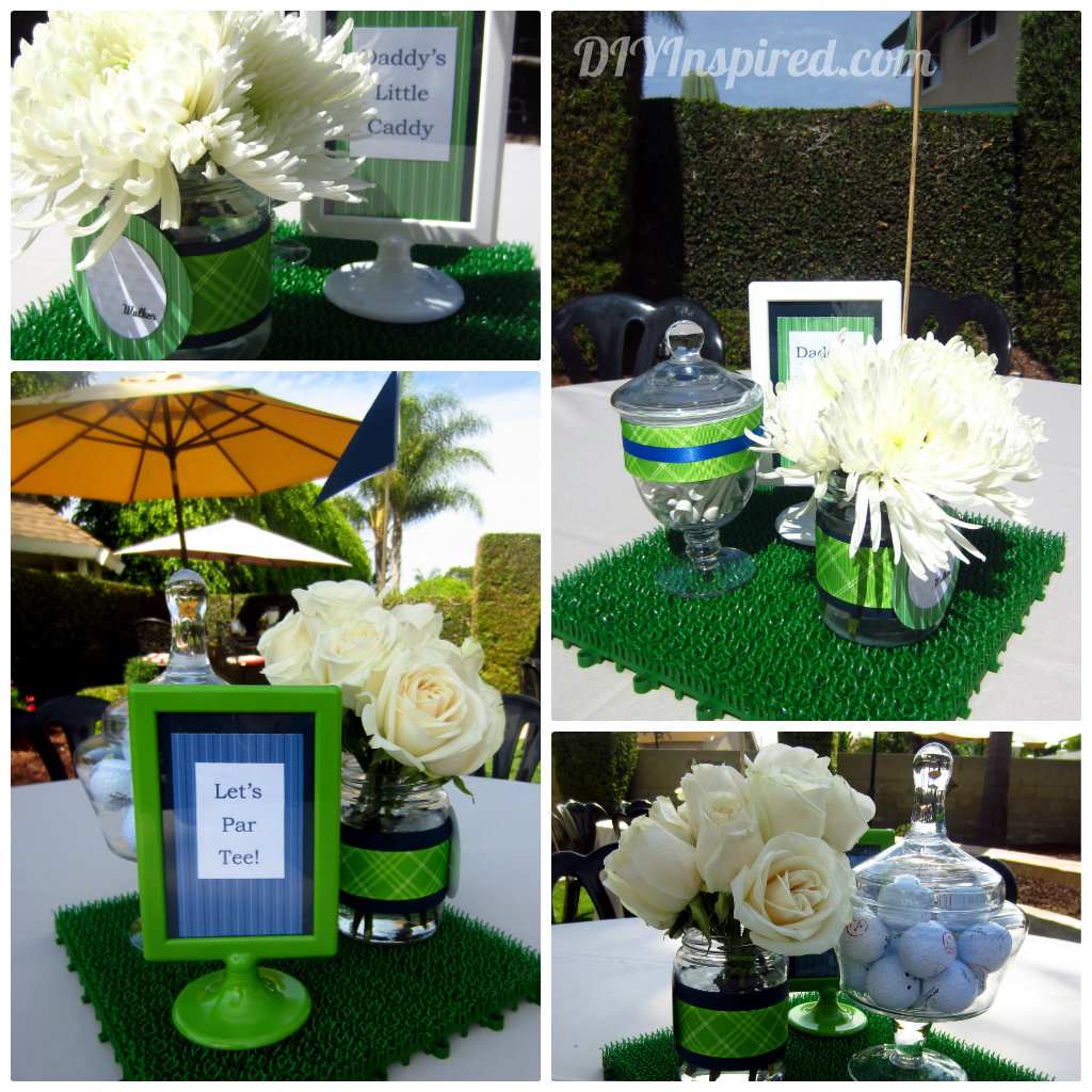 Golf themed baby shower ideas table decorations baby for Baby shower theme decoration
