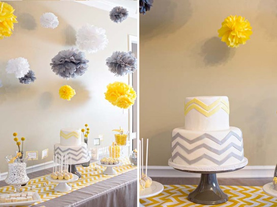 Chevron baby shower baby shower ideas themes games - Baby shower chevron decorations ...