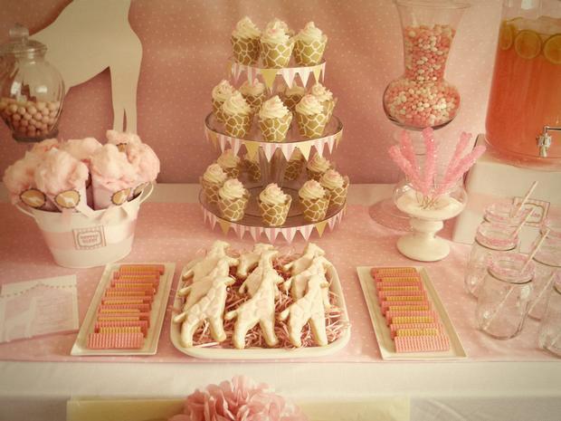 Pink Giraffe Baby Shower Dessert Table Decorations