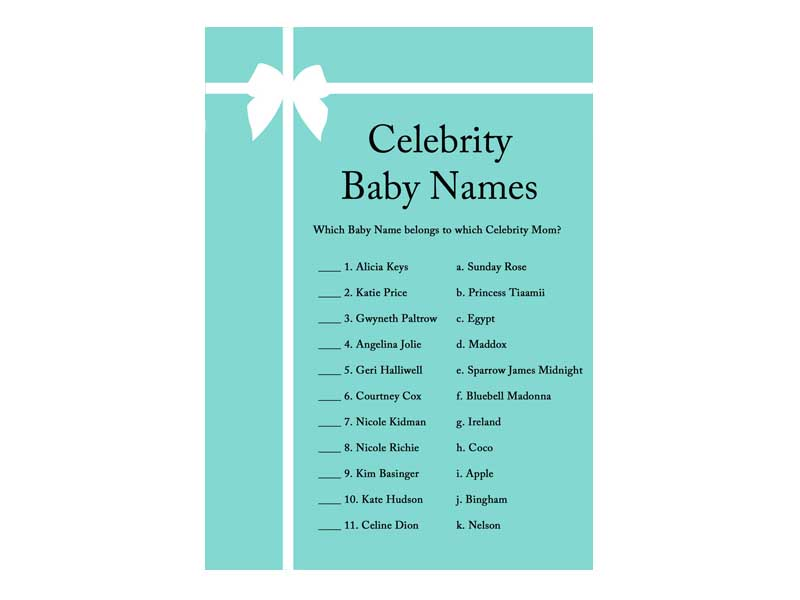 celebrity-baby-names - Baby Shower Ideas - Themes - Games