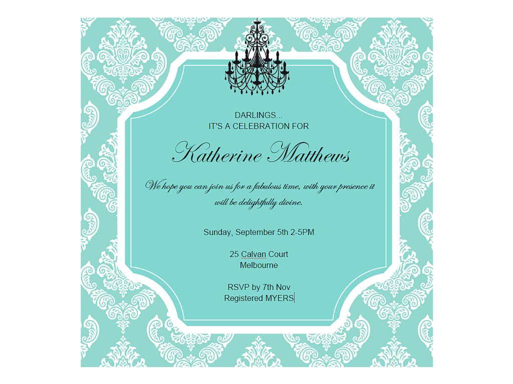 editable tiffany baby shower, bridal shower, birthday invitation ...