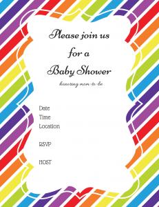 Free Rainbow Hot Air Baby Shower Invitation
