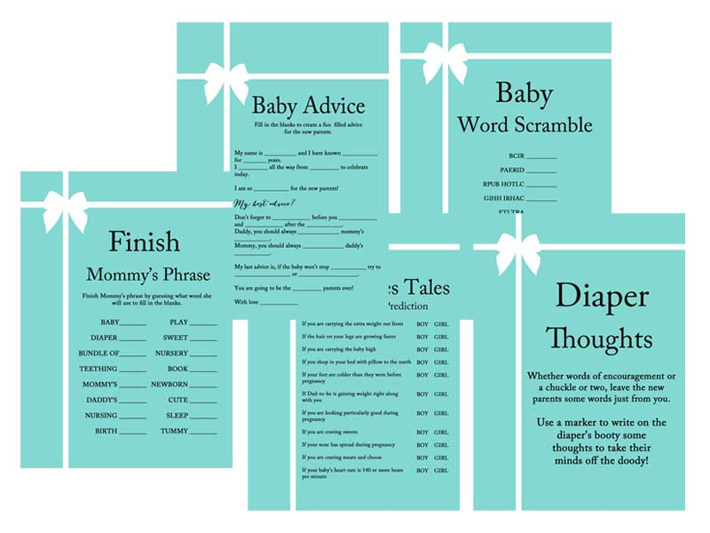 tiffany and co baby shower game and activity pack baby shower ideas