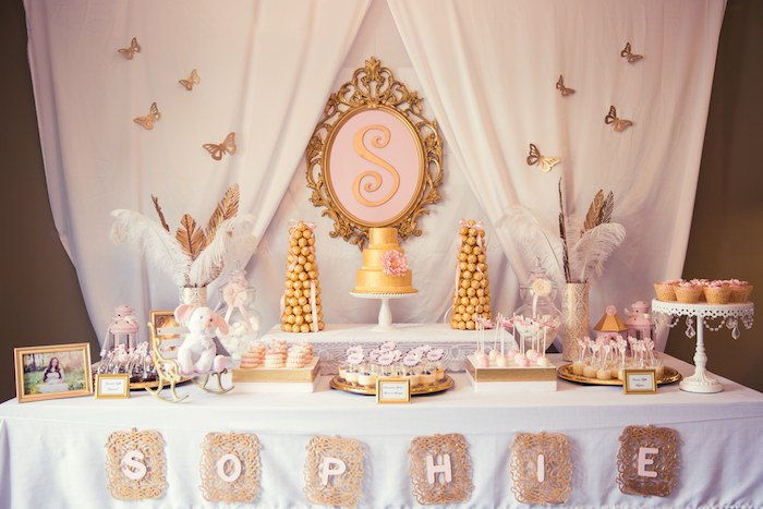 Pink And Gold Baby Shower Dessert Table 1 Baby Shower Ideas