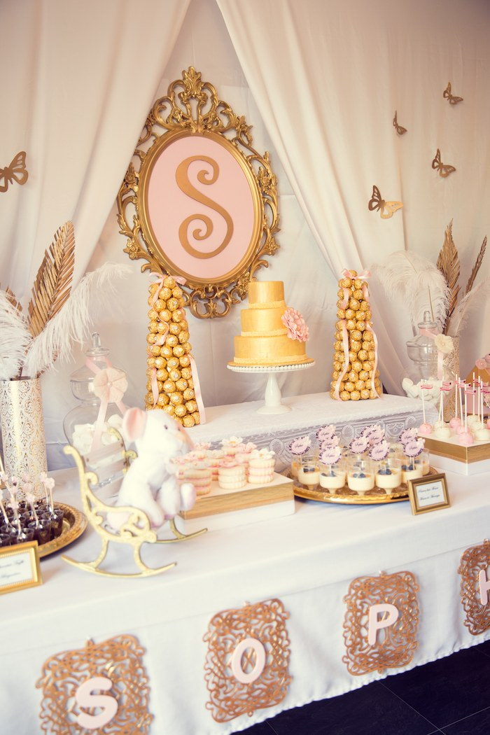 Pink And Gold Baby Shower Dessert Table (3)