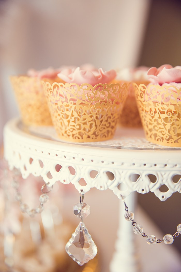 Pink and Gold Baby Shower dessert table cake food (5 ...