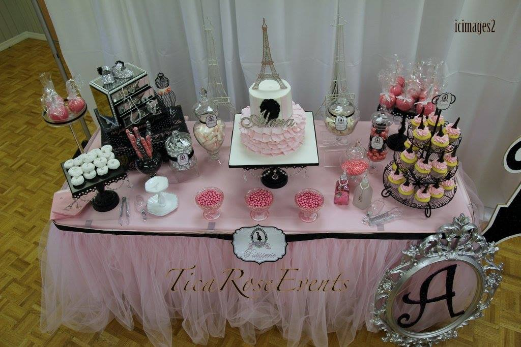 Ohh Lala Its A Girl Paris Baby Shower Dessert Table Overview Baby