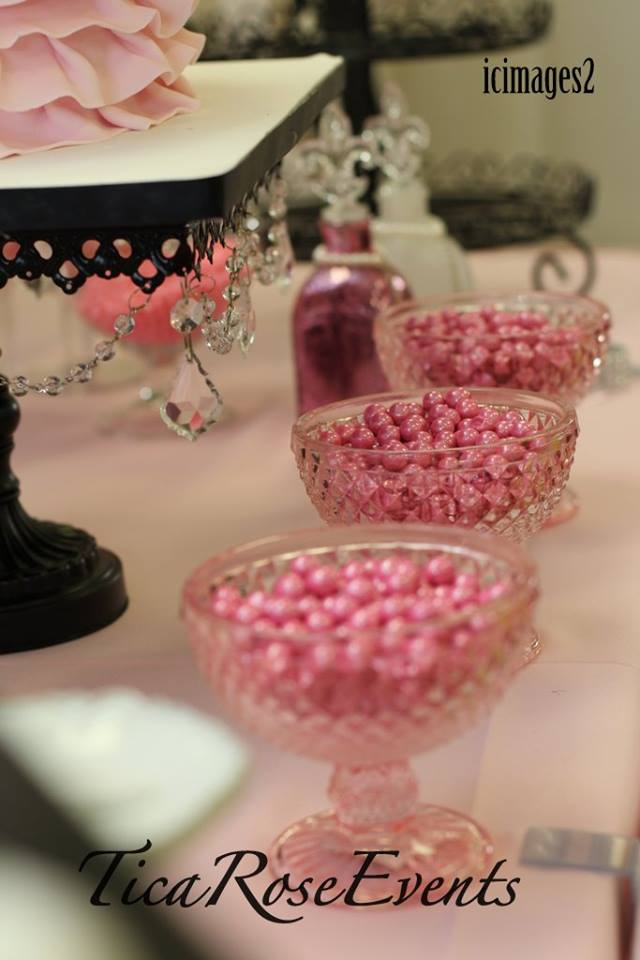 Glitter Pink Pearl Sixlets Baby Shower Ideas Themes