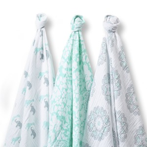 Mint Gold Modern swaddle