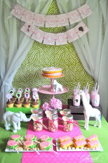 Pink Green Safari Baby Shower