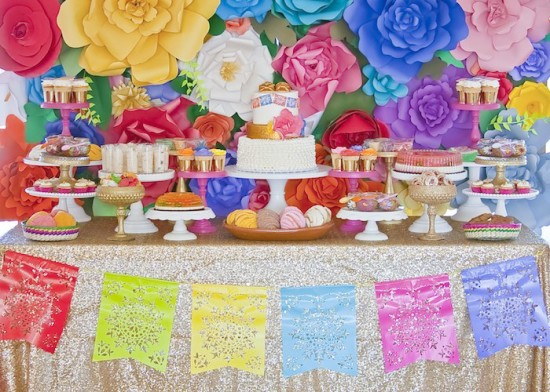 ... Colorful Festive Mexican Baby Shower Dessert Table With Paper Flowers  In Backdrop And Banner ...