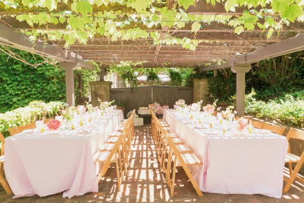 Elegant Table Setting Overview Green Vines Baby Shower