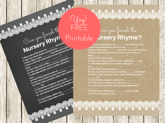 free nursery rhyme baby shower games baby shower ideas themes