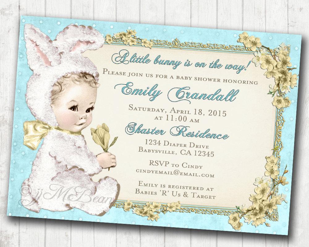 Easter Baby Shower Invitation for boy Easter Vintage Baby Shower ...
