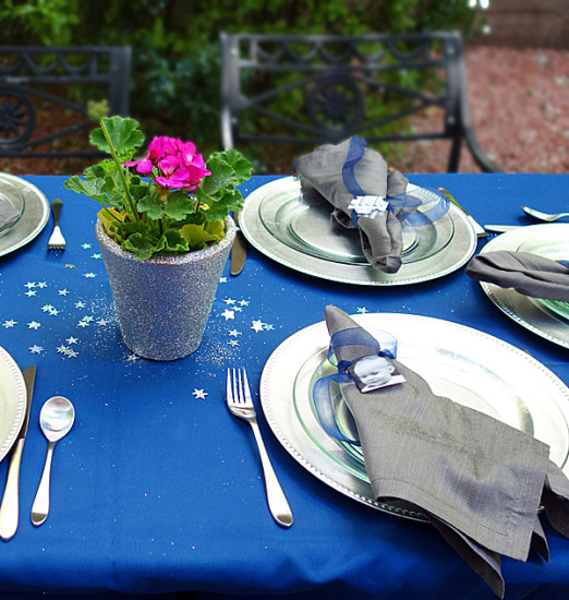 Glam Gender Reveal table setting