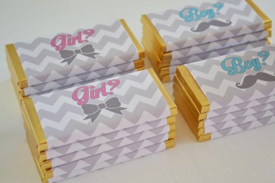 What Will It Bee Gender Reveal wrappers mustache or bowtie, pink or blue
