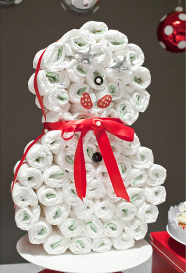 snowman-diaper-cake-fabulous-christmas-themed-baby-shower