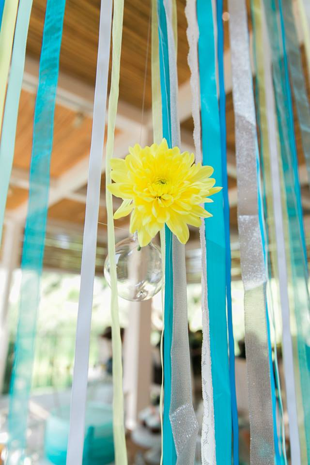 table setting turquoise baby shower theme decor baby