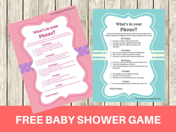 printable modern what 39 s in your phone baby shower game baby shower