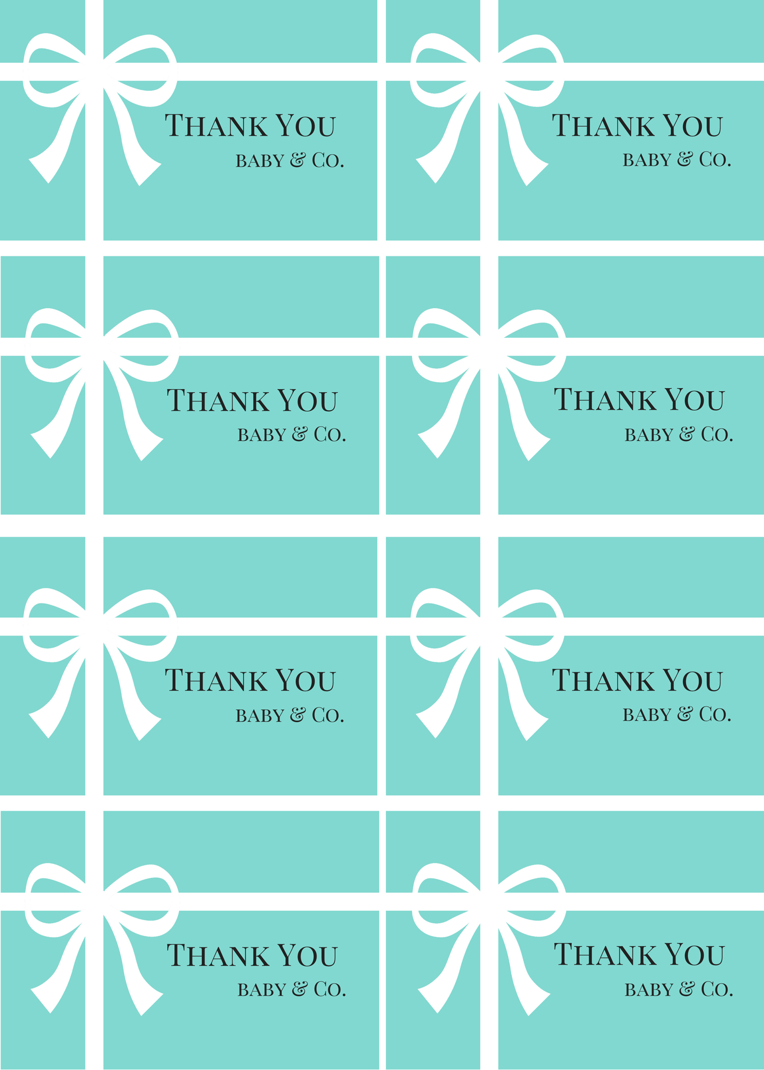 Free Printable Baby Gift Thank You Cards : Free tiffany baby shower printable ideas