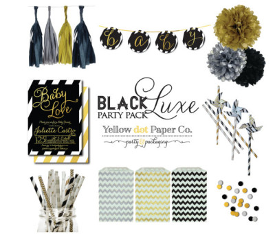 Black.Gold.Silver Party Pack, Baby Shower
