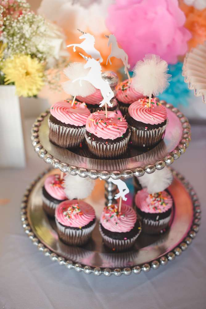 Unicorn Baby Shower Theme Cupcake Toppers With Paper And Tulle