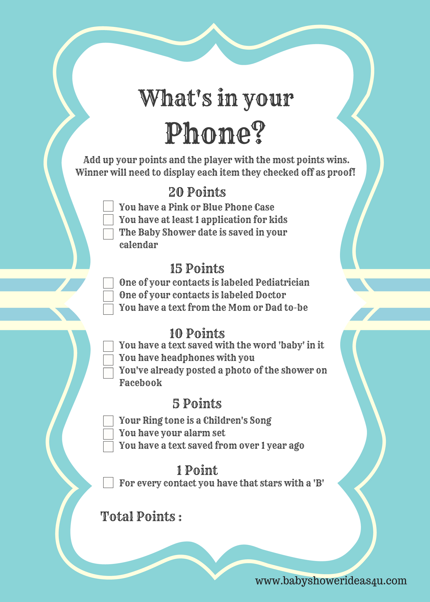 FREE Printable Modern What's in your Phone Baby Shower Game - Baby ...