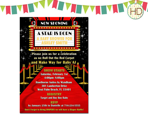 Ed Carpet Baby Shower Invitation Hollywood Party Red Birthday Movie Theatre