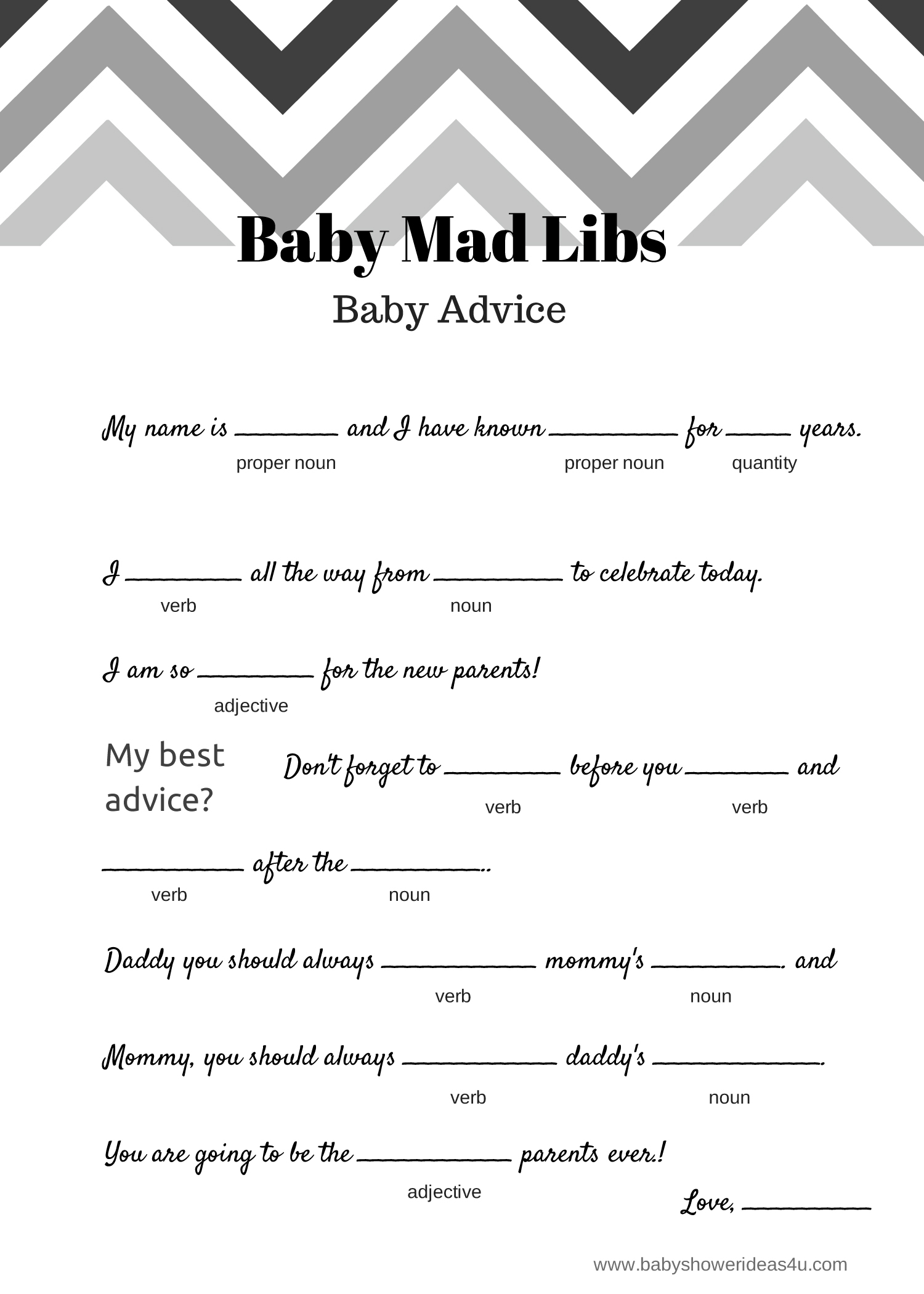 Free Baby Mad Libs Game Baby Advice Baby Shower Ideas