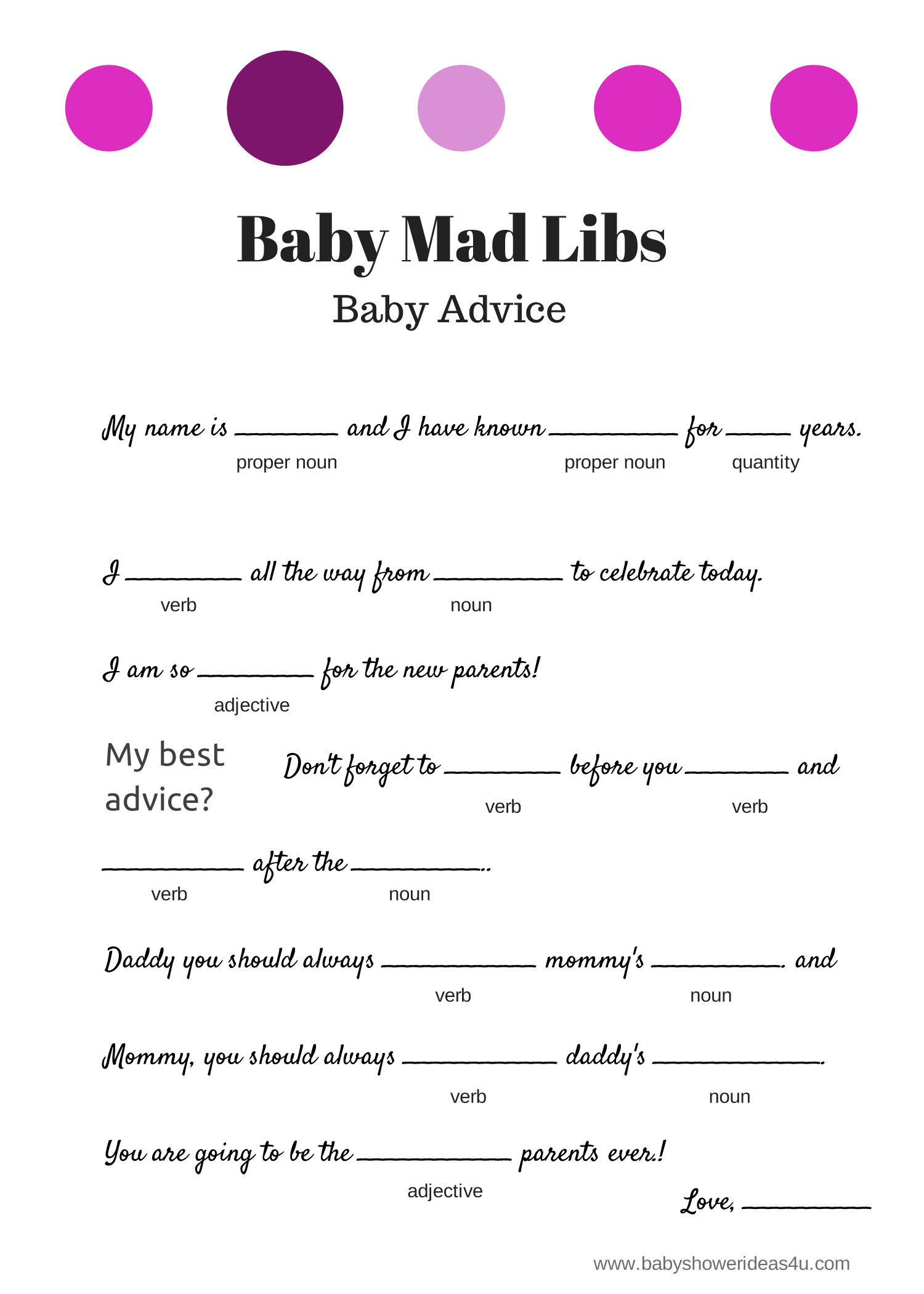 baby mad libs game baby advice baby shower ideas themes games