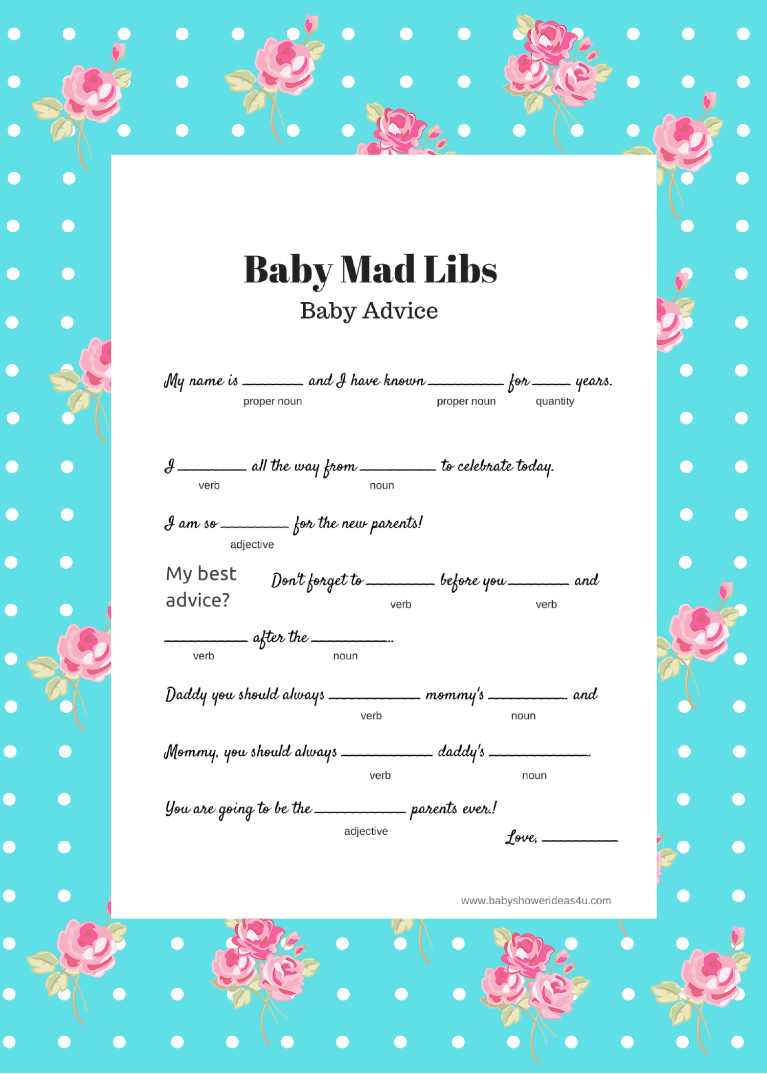 free baby mad libs game  baby advice  baby shower ideas  themes, Baby shower