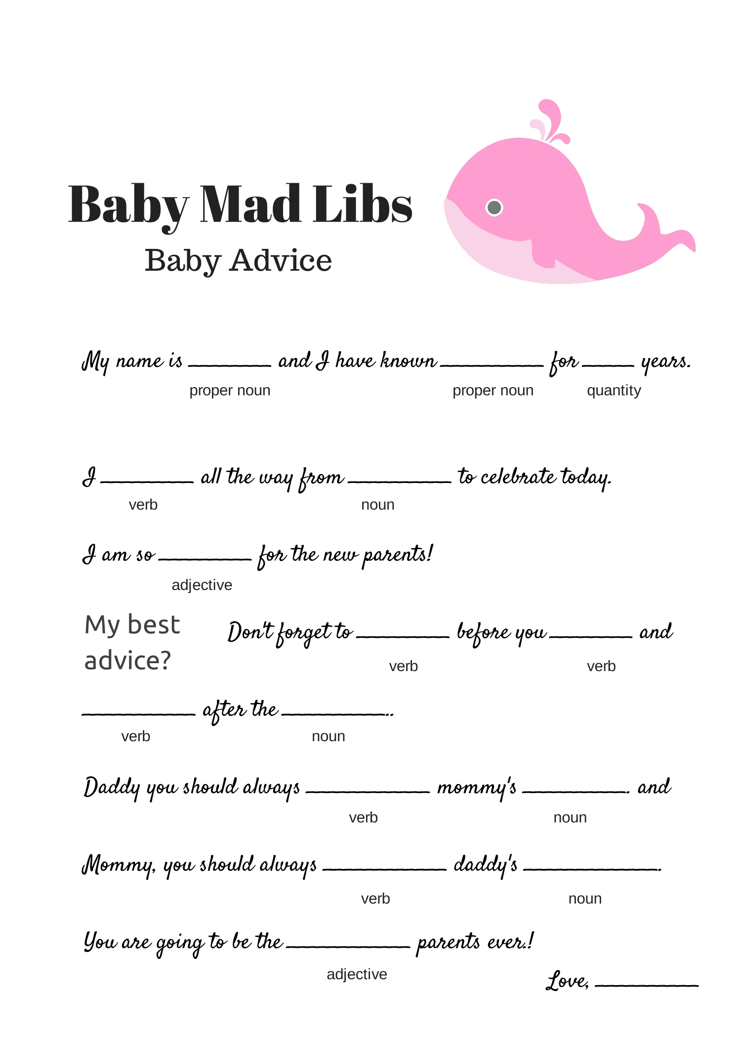 FREE Baby Mad Libs Game - Baby Advice - Baby Shower Ideas - Themes - Games