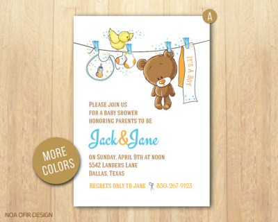 Baby Shower Invitation, Baby Boy Invitation, Teddy Bear Baby Shower  Invitation ...